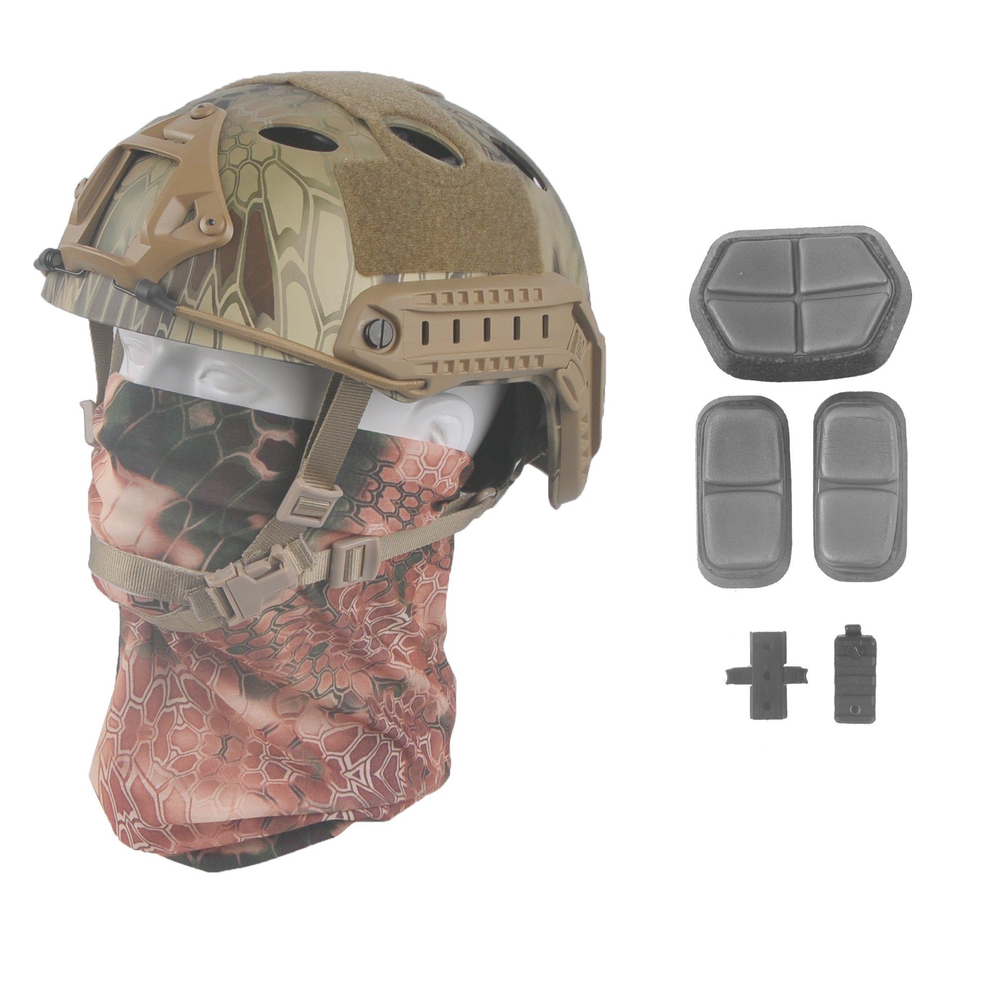 LOOGU Fast PJ Base Jump Military Helmet with 12-in-1 Headwear(MANDRAKE) by LOOGU