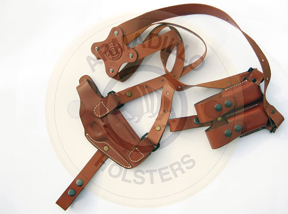 9. Armadillo Tan Leather Shoulder Holster Right Hand Draw for 1911 models