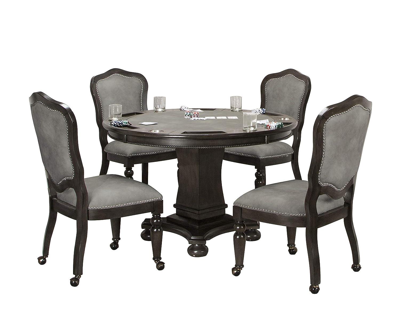 Sunset Trading Vegas Dining/Poker Table Set, 2 in 1 Game, Distressed Gray