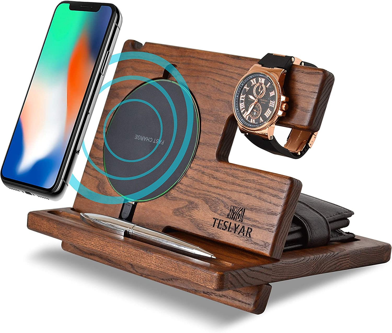 Wood Phone Docking Station Ash Key Holder Wallet Stand Watch Organizer Men Gift Husband Wireless Charging Pad Slim Birthday Nightstand Purse Tablet Compatible with iPhone Samsung Plus All Qi Devices