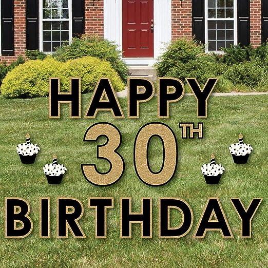 Adultos 30th cumpleaños - oro - Señal de patio al aire libre ...