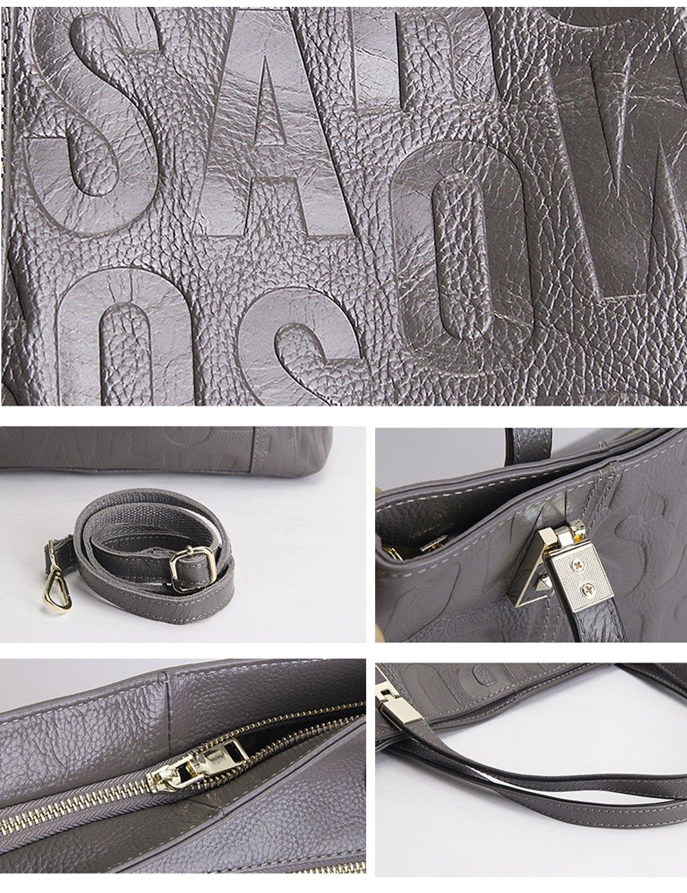 Menschwear Womens Genuine Leather Top Handle Satchel Bag Grey by Menschwear (Image #6)