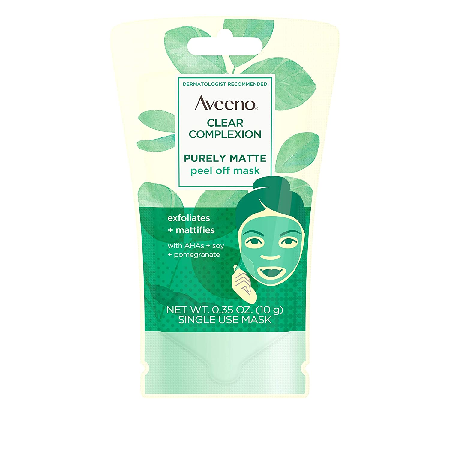 Aveeno Clear Complexion Pure Matte Peel Off Face Mask with Alpha Hydroxy Acids, Soy & Pomegranate for Clearer-Looking Skin, Non-Comedogenic, Paraben- & Phthalate-Free, 0.35 oz