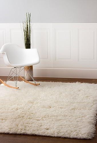 Super Area Rugs Wool Flokati Solid Shag Rug, 9 x 12 , White