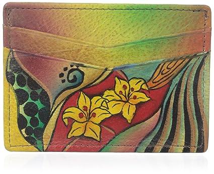 Anuschka pintado a mano del cuero genuino del titular de la tarjeta de crédito (Tropical