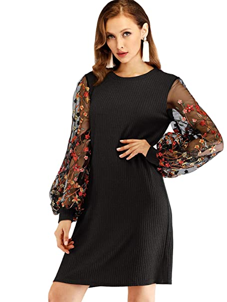 Didk Womens Round Neck Floral Embroidered Mesh Long Sleeve Dress At