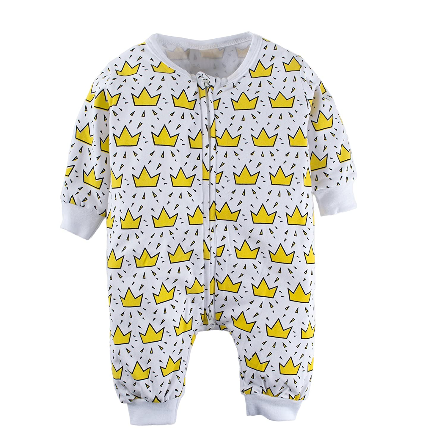 BIG ELEPHANT Baby Boys'and Girls' 1 Piece Graphic Print Long Sleeve Romper Pajama L60