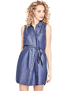 GUESS Factory Womens Leia Collared Button-Front Waist Tie Denim Dress