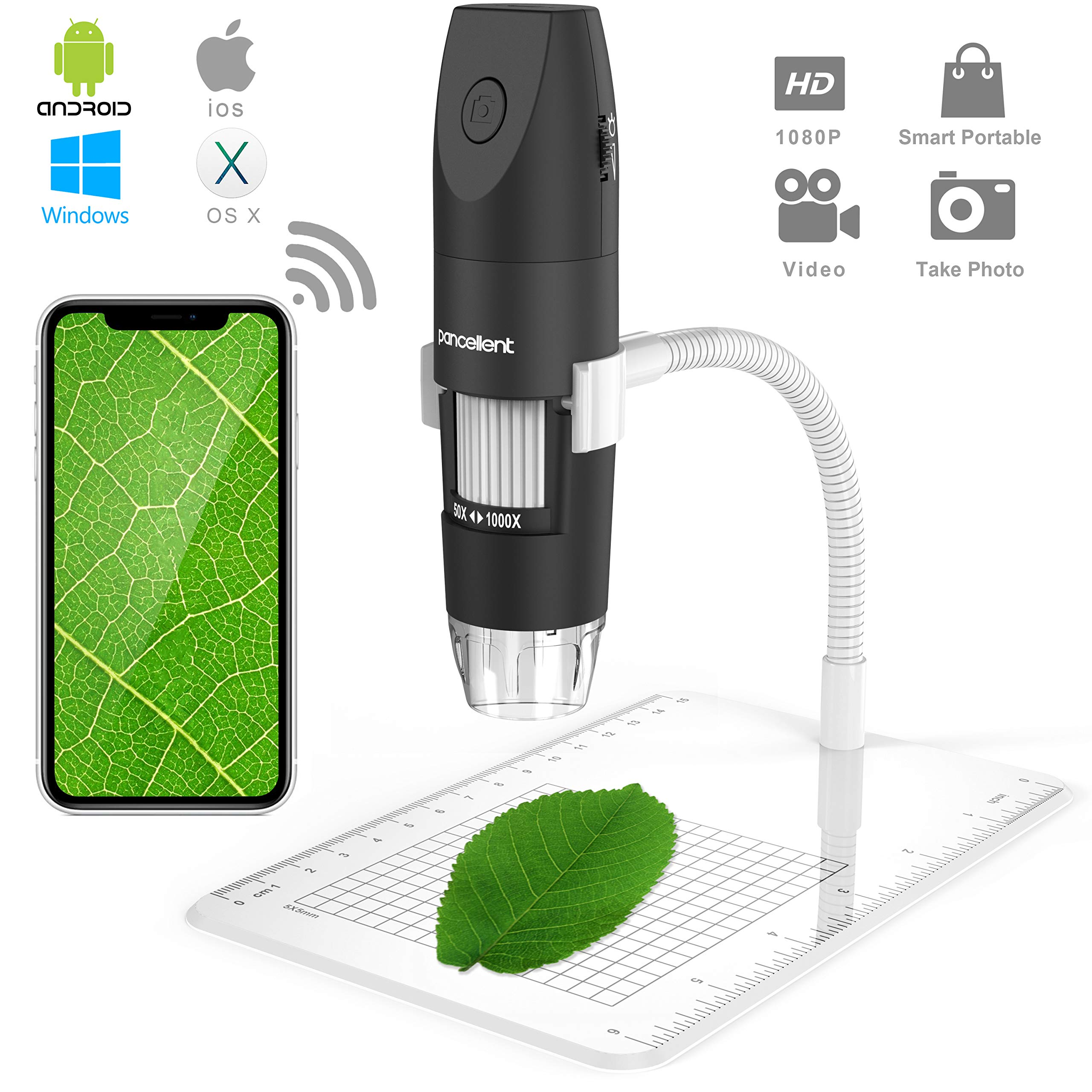 Wireless Digital Microscope, Pancellent 1080P 50X to 1000X Magnification Microscopy with 8 LED, USB Handheld Camera with Light Compatible for iPhone Android, iPad Windows Mac by Pancellent