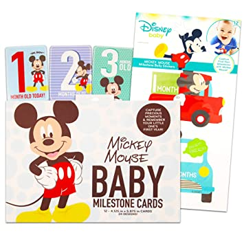 Disney Baby Boys Mickey Mouse Milestone Photo Prop Numbers First Year Pictures
