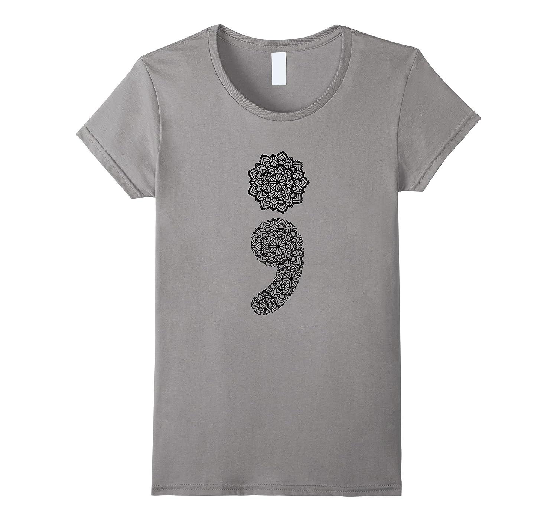Mandala Semicolon Suicide Awareness T-Shirt