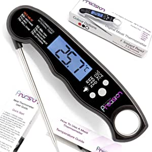 Digital Instant Read Meat Thermometer - Best Meat Thermometer for Cooking, Waterproof with Backlight. Food Thermometer ideal for BBQ with Meat Probe. Three Colour Options: Black, Red and White. Digital Thermometer by Kitchen Precision (Black / Black)