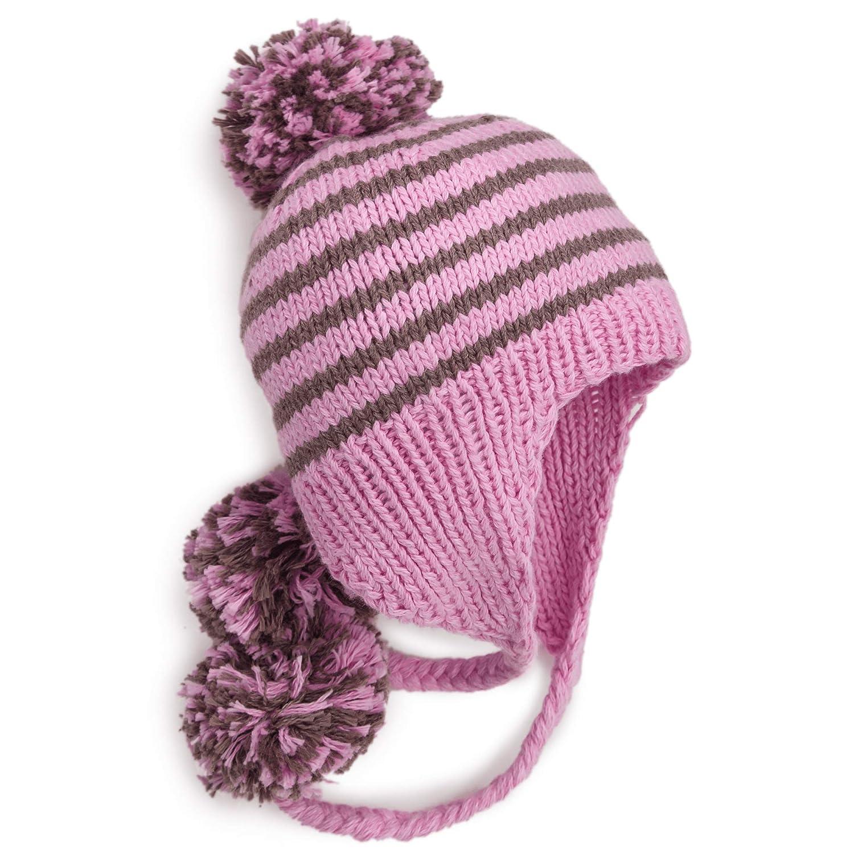 BeanieDesigns Organic Cotton Baby Infant Handmade Pompom Beanie Hat Toddler Boys Girls/ Kid Earflap Beanie Cap Pink