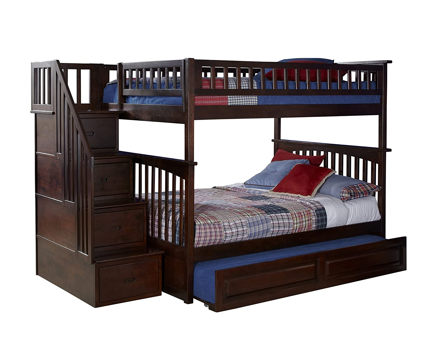Amazon.com: Atlantic Furniture Columbia Staircase Bunk Bed With Trundle  Bed, Full Over Full, Antique Walnut: Kitchen U0026 Dining
