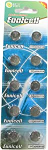 10 Eunicell AG10 / 189/389 / LR1130 Button Cell Watch Battery with Long Shelf Life (Expiry Date Marked)