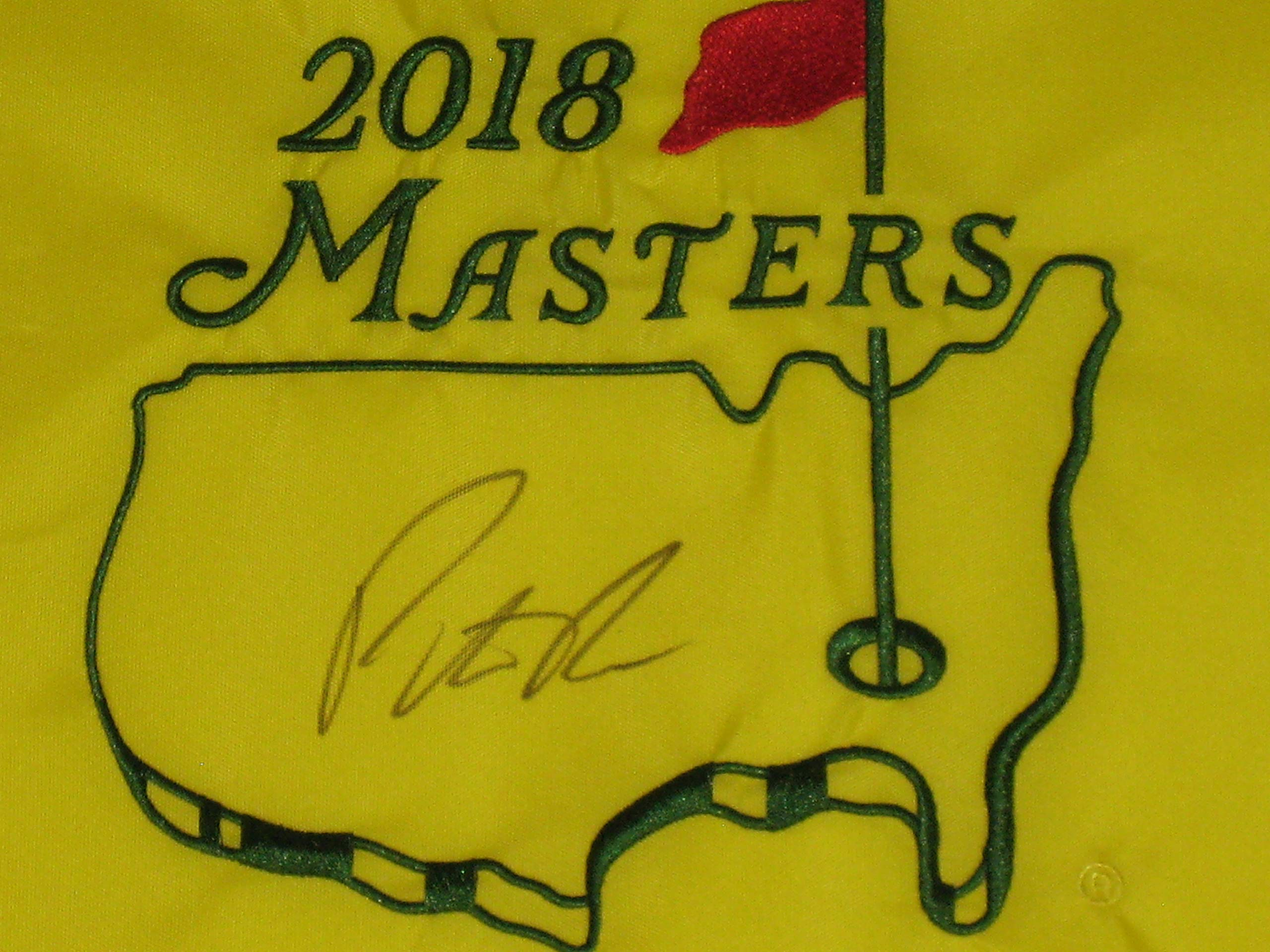 Patrick Reed signed 2018 Authentic Masters Tournament Pin Flag Winner JSA COA