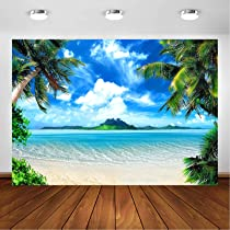 10x6.5ft Vinyl Photography Background Beach Themed Backdrop Beach Vacation Hat Sunglasses Conches Coconut Tree Sea Background for Party Decoration Video Studio Photography Backdrop Props