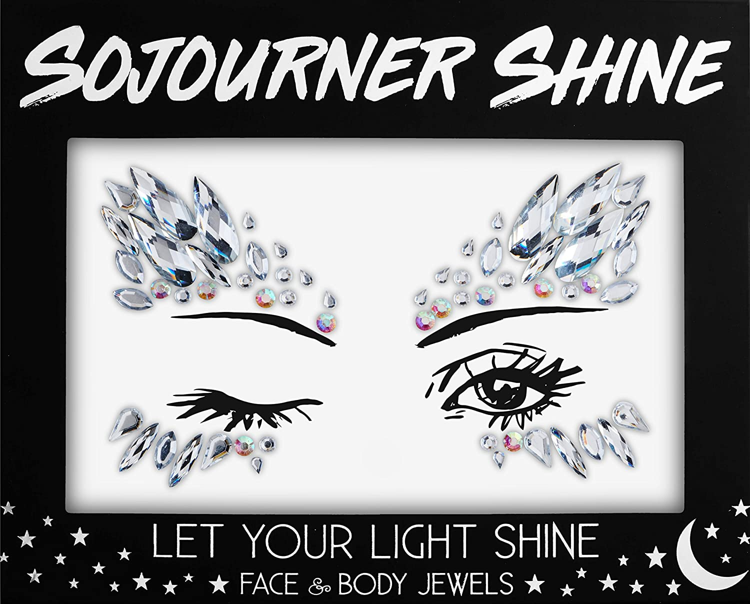 Face Jewels Glitter Gems Rhinestones – Eye Body Jewels Gems | Rhinestone Stickers | Body Glitter Festival Rave & Party Accessories by SoJourner (Midnight Goddess) SoJourner Bags