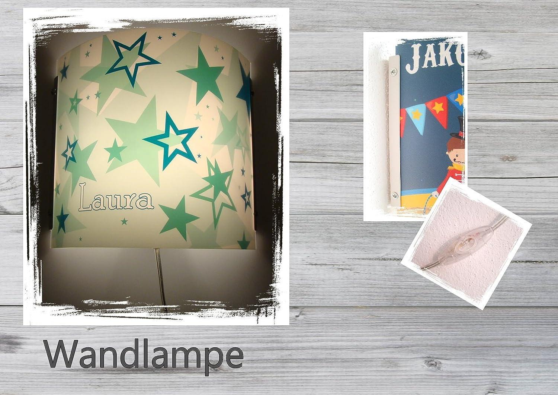 Kinder Leuchte als Wandlampe/Schlummerlicht oder Nachtlicht fü r Steckdose/personalisiert mit Namen Motiv Sternenhimmel grü n CreaDesign