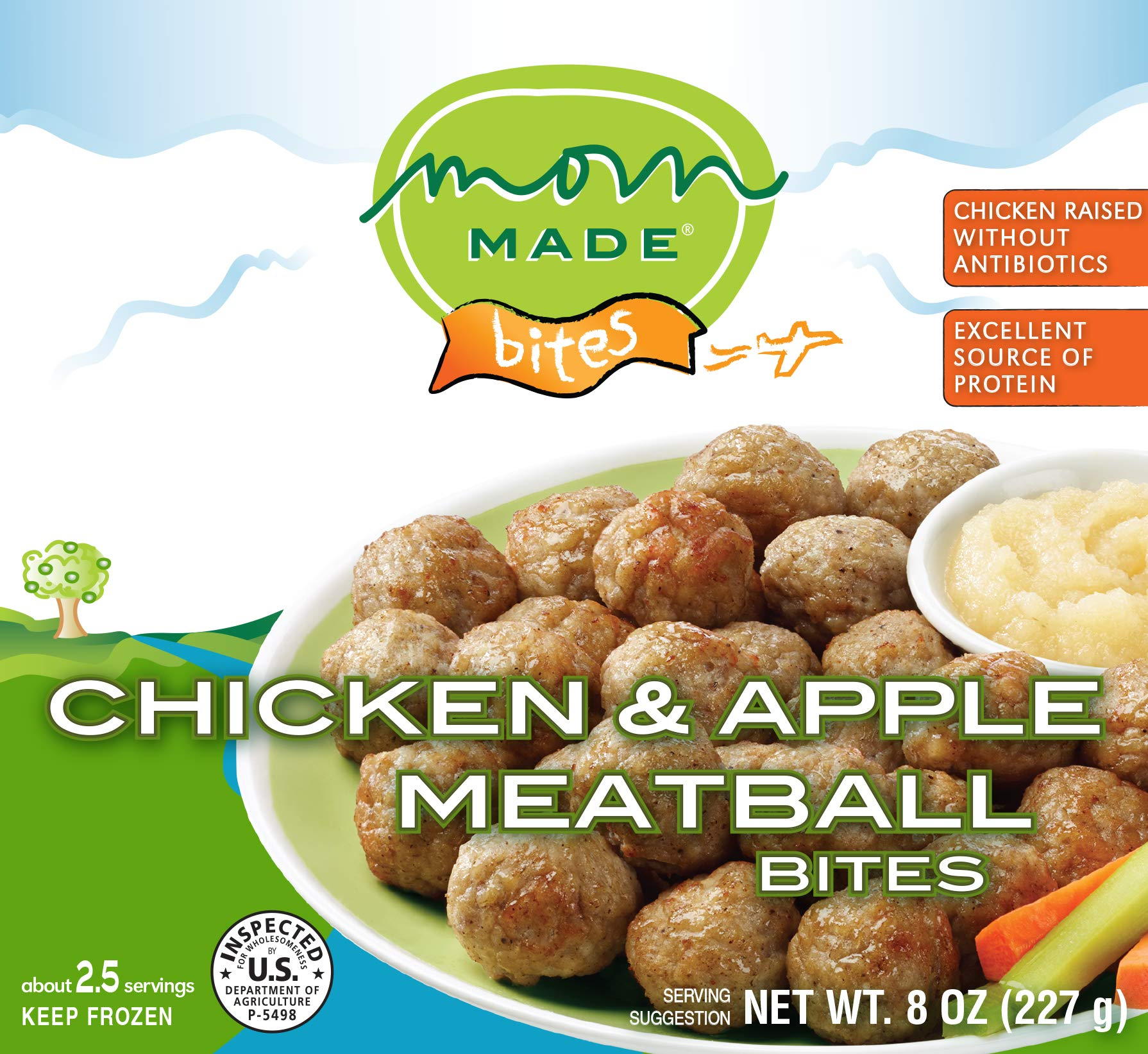 Mom Made Meatballs - Chicken & Apple Meatballs, Antibiotic-free, Healthy frozen meals made in the USA, 8oz (8 pack) by Mom Made