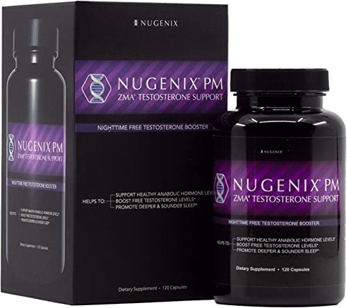 Nugenix PM – ZMA Nighttime Sleep Aid, Muscle Recovery, Free Testosterone Booster, Contains Patented Clinically Studied Dose of ZMA – 120 Capsules
