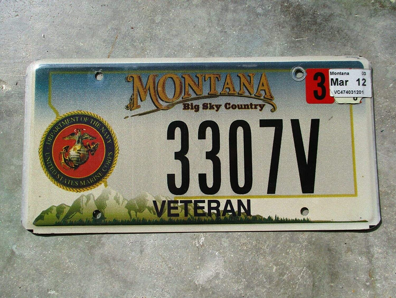 YelenaSign Plaque dimmatriculation Montana 2012 Marine Corps # 3307V 6x12