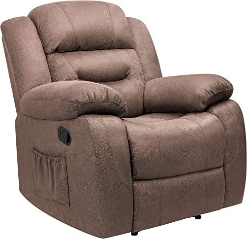 Tuoze Fabric Massage Recliner Chair with Heated Function Ergonomic Single Sofa Living Room Chair Brown