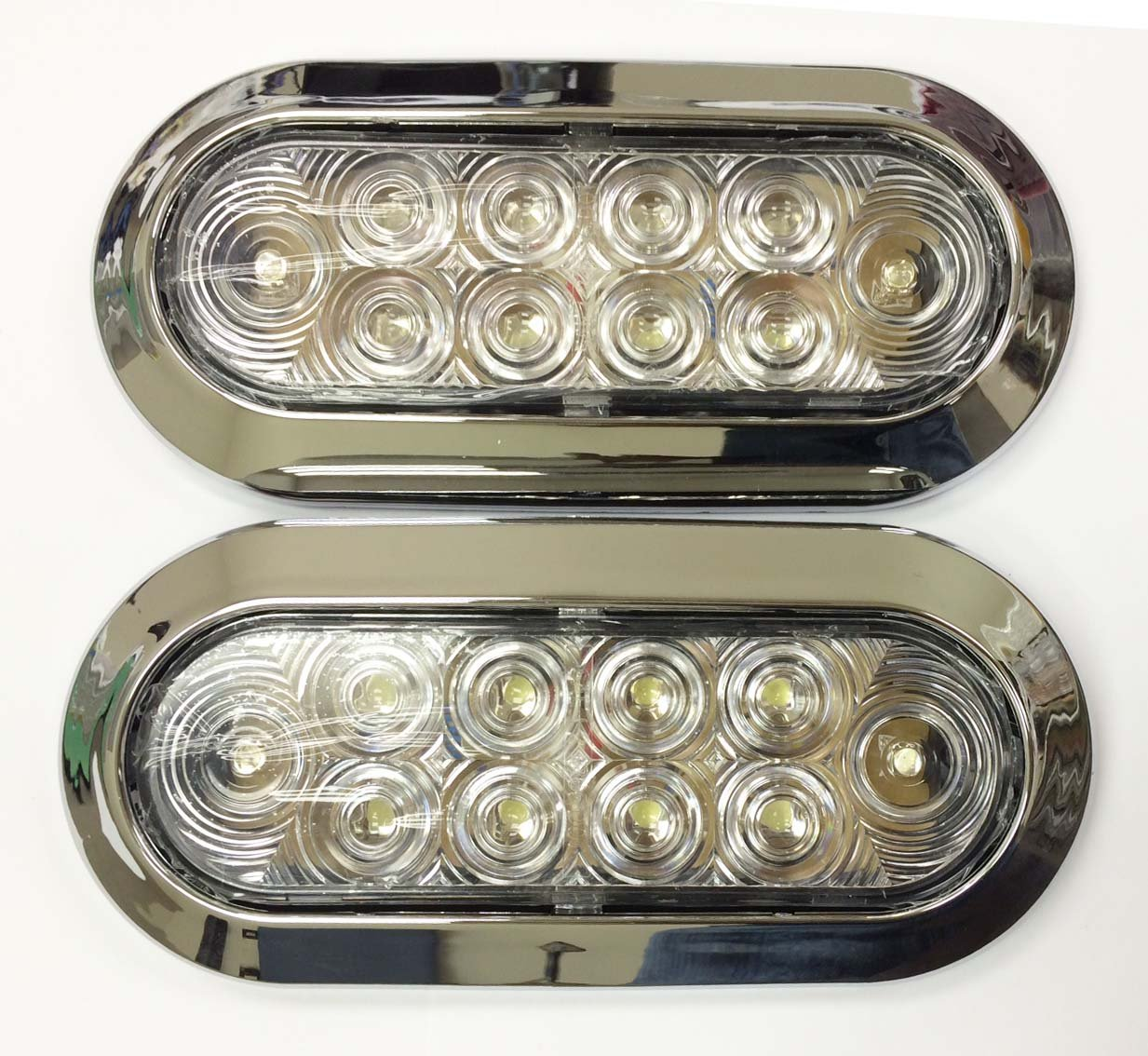 Set of 2 White/Clear 6'' Oval 10 LED Surface Mount Trailer Truck Reverse Backup Light w/ Chorme Trim- 24031