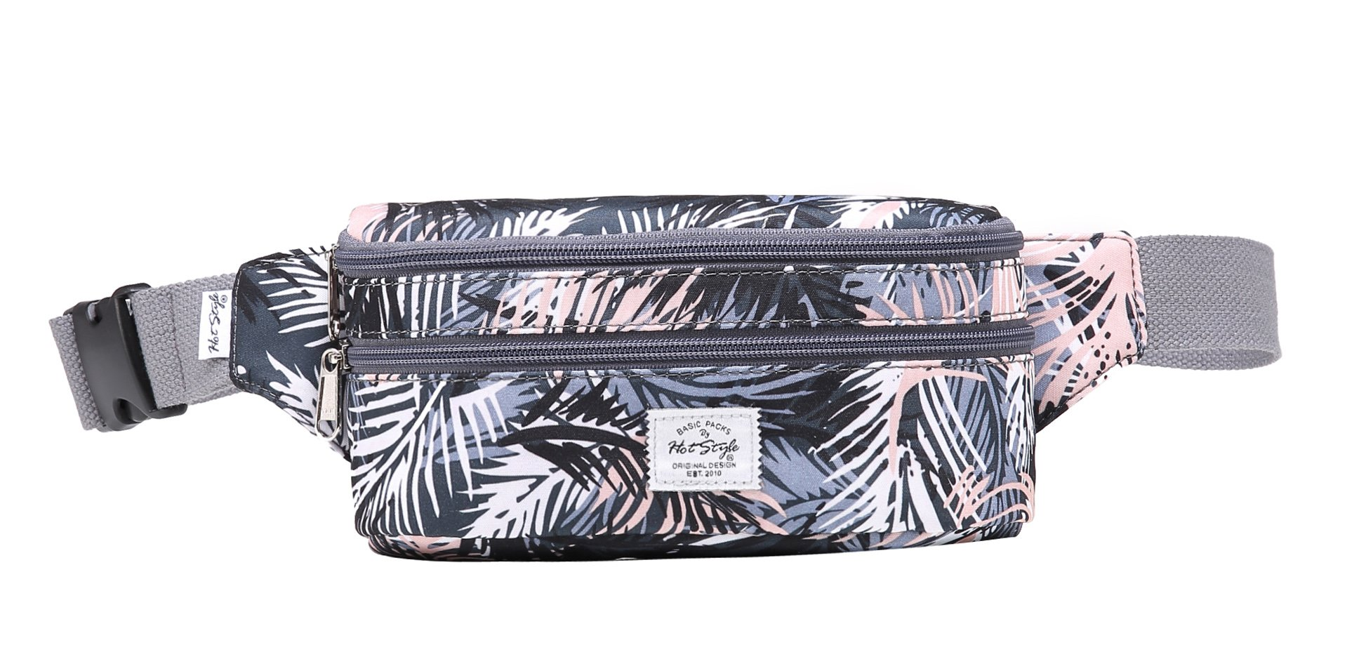 521s Fashion Waist Bag Cute Fanny Pack | 8.0''x2.5''x4.3'' | Tropical, Grey