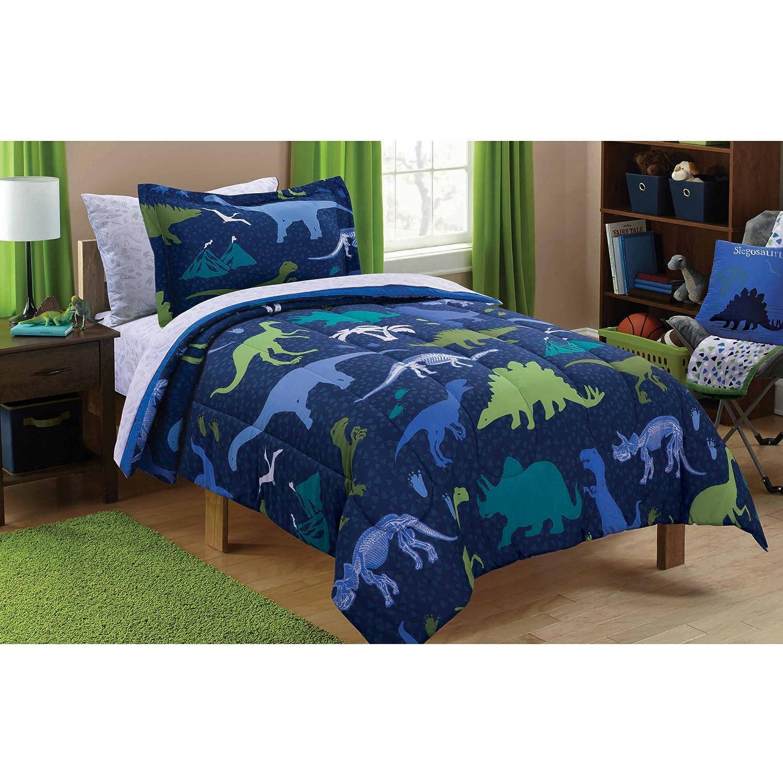 Mainstays Kids Dino Roam Bed in a Bag Bedding Set, Full, Multi
