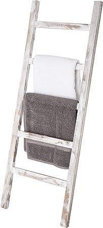 MyGift - Manta con escalera de madera, diseño vintage, color blanco: Amazon.es: Hogar