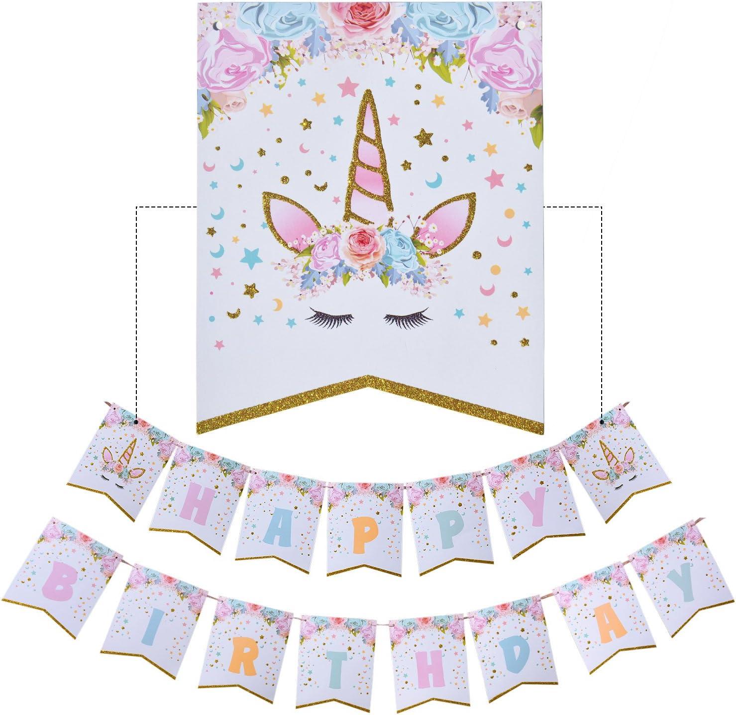 Forniture per Feste Unicorno Bandiera Palloncino Impostato AMZTM Decorazioni per Feste di Compleanno per Ragazza