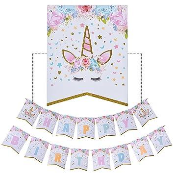 AMZTM Decorados Fiesta De Cumpleaños Conjunto para Mujeres Artículos para Fiestas Temáticas De Unicornios Happy Birthday (Unicornio Pancartas)