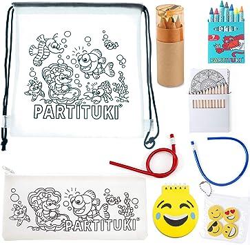 Partituki Pack Material Escolar 7 Ceras, Estuche Escolar y Mochila Escolar, 6 Lápices con Sacapuntas, Libreta Emoji, 2 Lápices Flexibles, 4 Gomas, 12 Mandalas y 12 Lápices Colores: Amazon.es: Juguetes y juegos