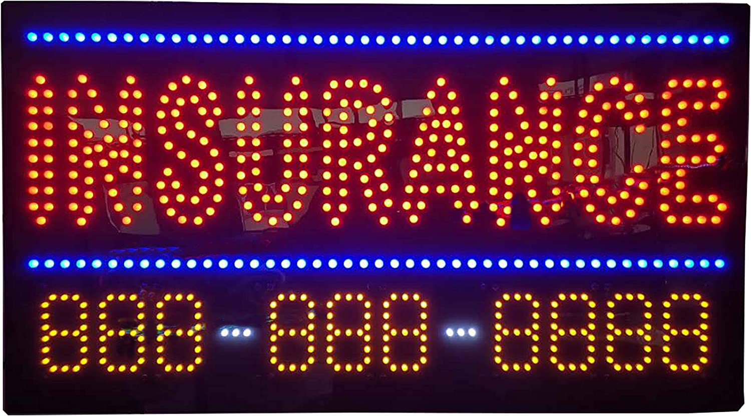 amazon com led insurance agency open light sign super bright electric advertising display board for auto farmers health medicare life home insurance agency business shop store window bedroom 31 x 17 inches home led insurance agency open light sign super bright electric advertising display board for auto farmers health medicare life home insurance agency