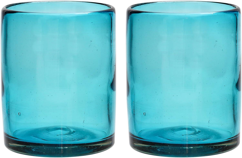 Handgemachter Tumbler T/ürkis recyceltes Glas Einzelnes Glas