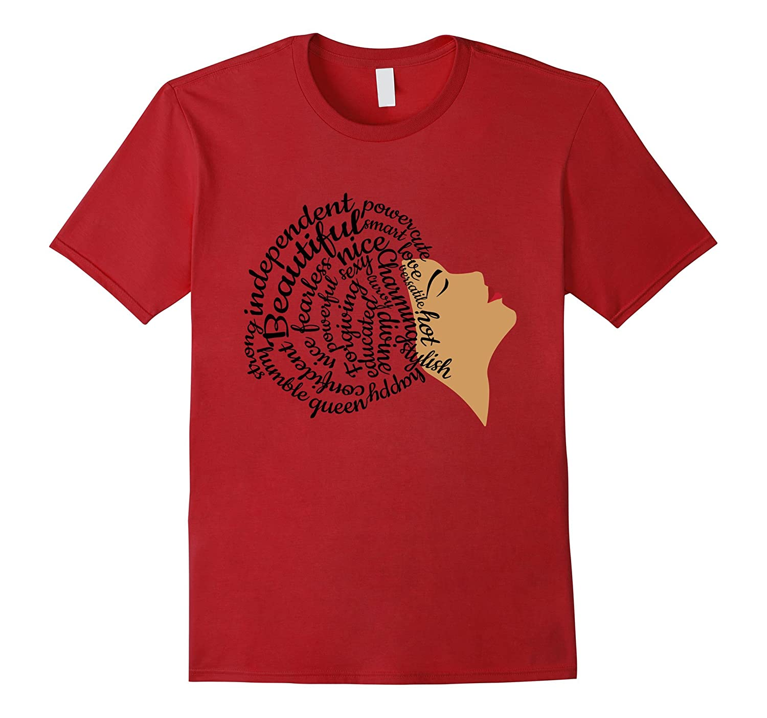 Afro Word Art Natural Hair T-Shirt for Black Women-TD