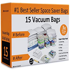 Home-Complete Vacuum Storage Bag Bundle - 15 Space Saver Bags and Free Travel Pump - Save Closet Space with Airtight Bags …