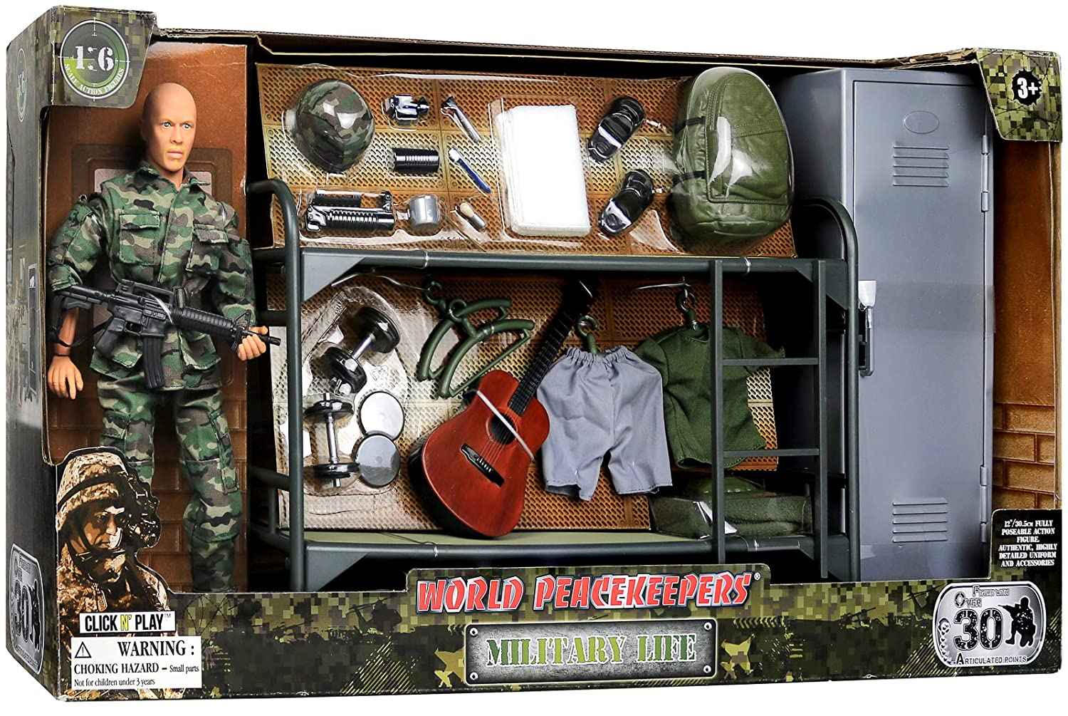 Click N Play Military Camp Bunk House Life 12 Action Figure Play Set with Accessories Brown