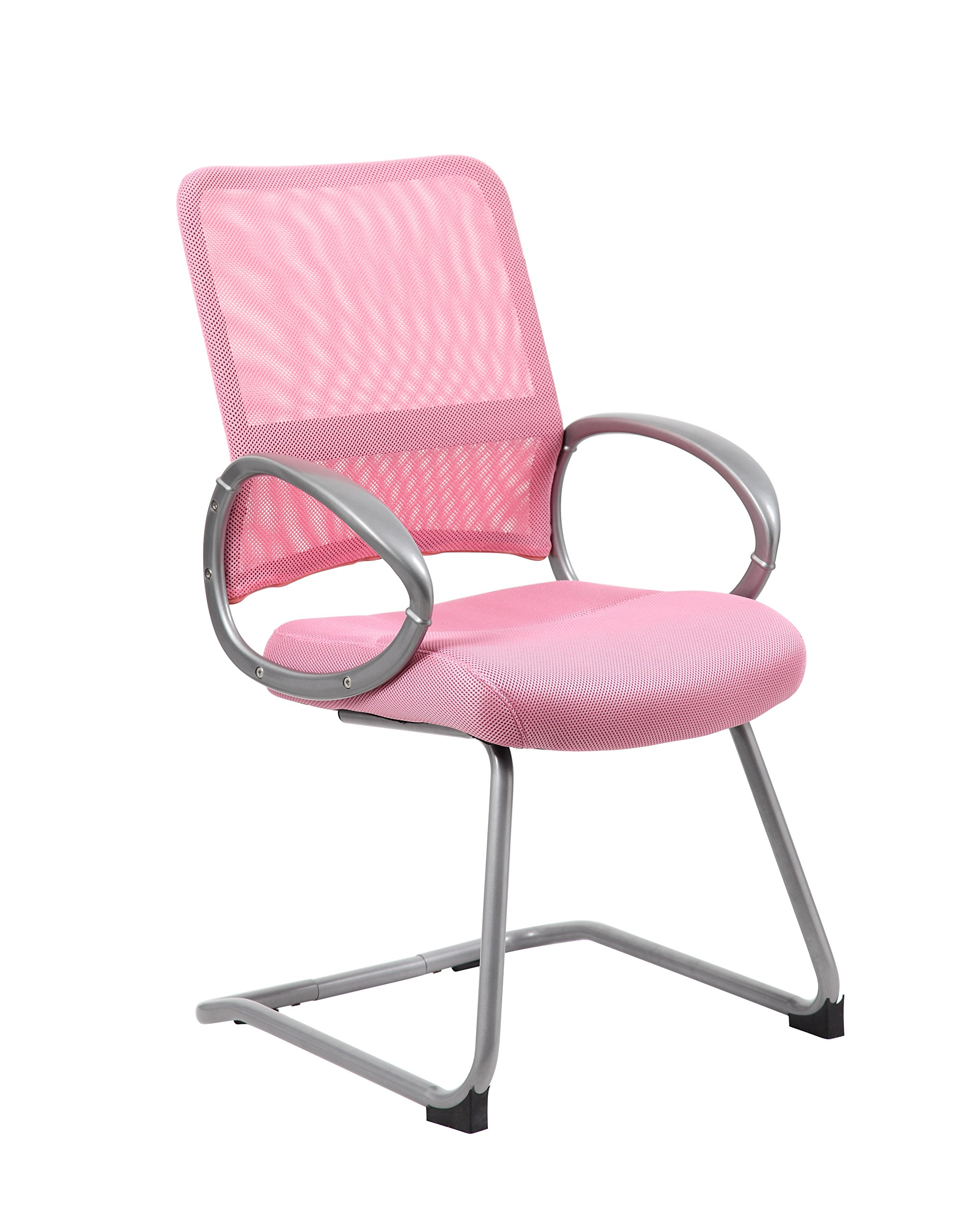 Boss Office Products B6419-PK Mesh Back Guest Chair with Pewter Finish in Pink