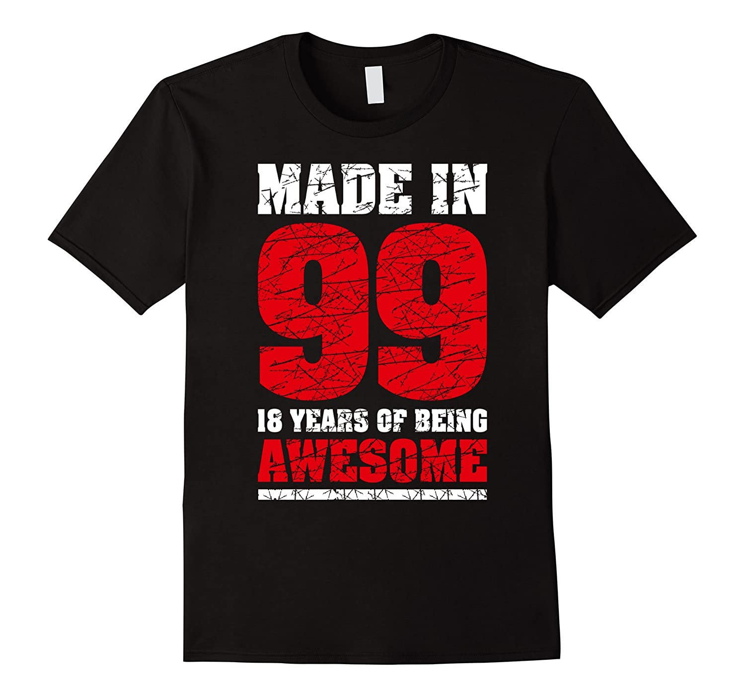18 th Birthday Gift T-Shirt Made In 99 nice 17 yrs old shirt-RT