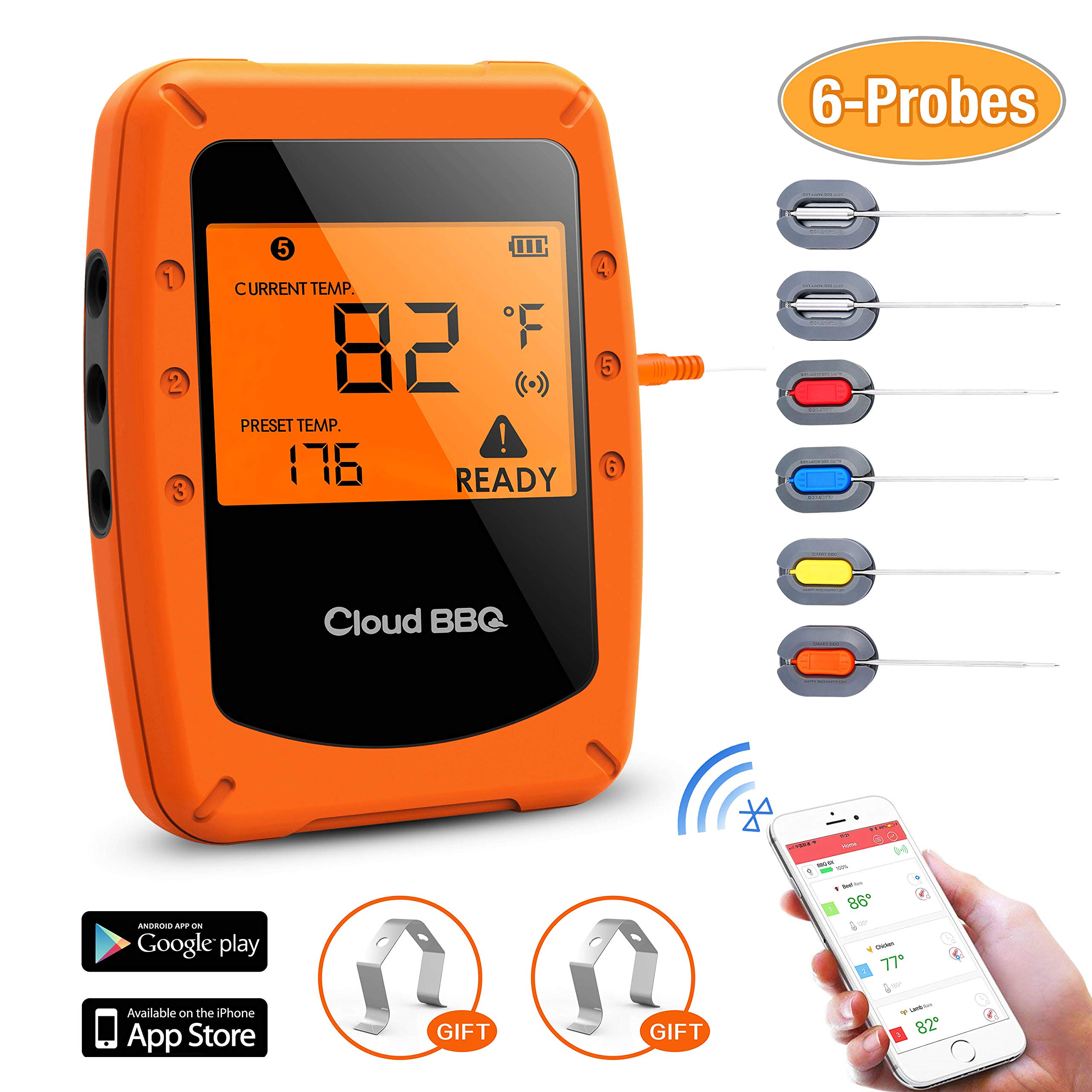 Beaspire Wireless Bluetooth Meat Smoker Thermometer for Grilling with APP (6 Probes) - Digital Remote Grill BBQ Thermometer Oven Safe for Smokers Kitchen Food Cooking