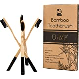 U+ME Bamboo Toothbrush Pack | Soft Charcoal Bristle Wooden Toothbrushes