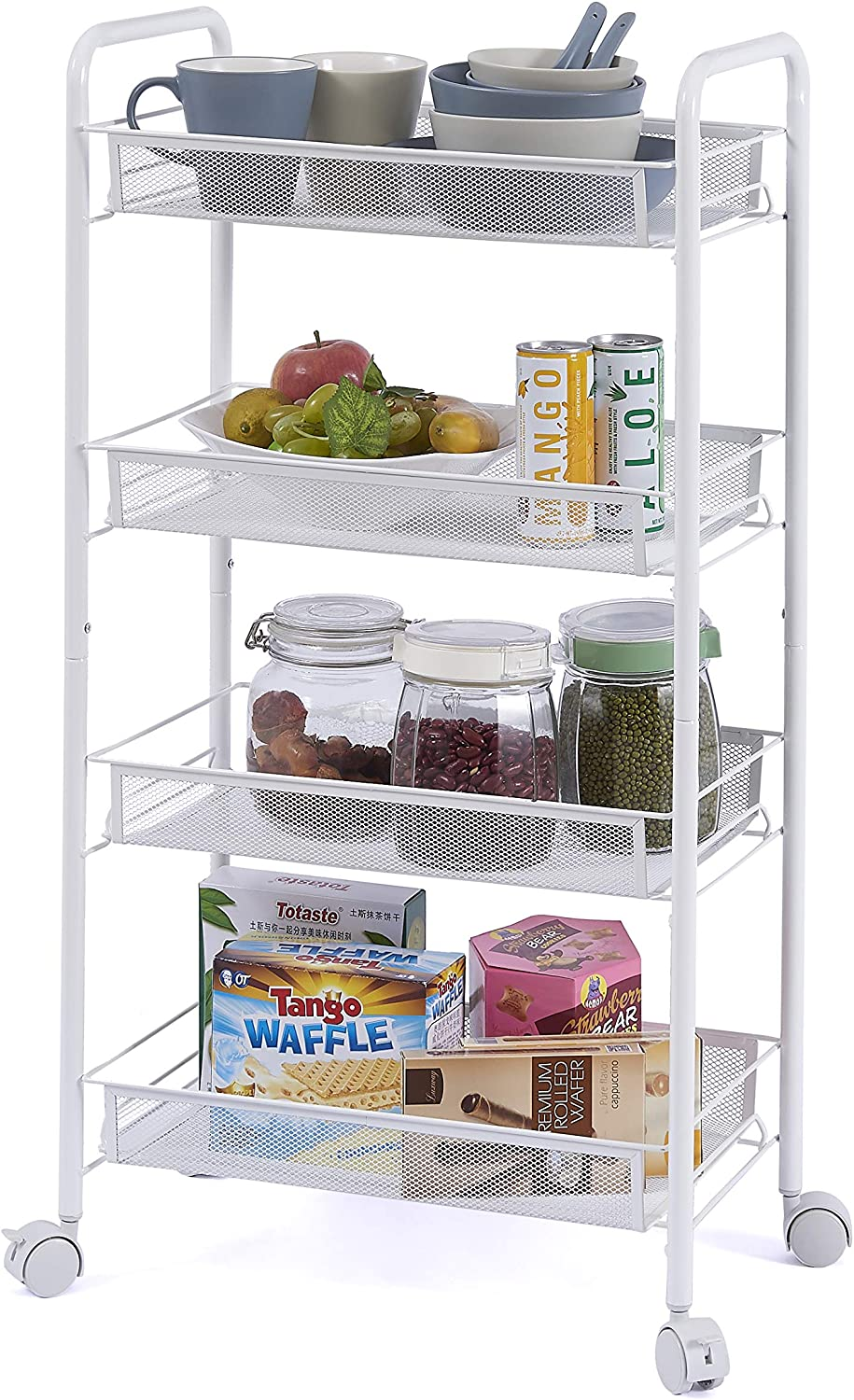 Ovicar Mesh Utility Cart, Rolling Basket Stand for Kitchen & Bathroom, Full Metal Storage Art Trolley Carts with Wheels & 4 Side Hooks (4 Tier, White)