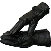 AVBA Men Black Solid Leather Warm Winter Riding Gloves, Protective Cycling Byke Bike Motorcycle Gloves(Black_Large)