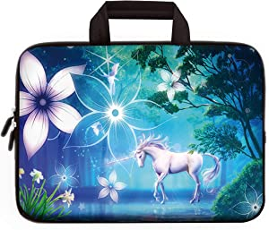 14 15 15.4 15.6 inch Laptop Handle Bag Computer Protect Case Pouch Holder Notebook Sleeve Neoprene Cover Soft Carrying Travel Case for Dell Lenovo Toshiba HP Chromebook ASUS Acer (Cute Unicorn)