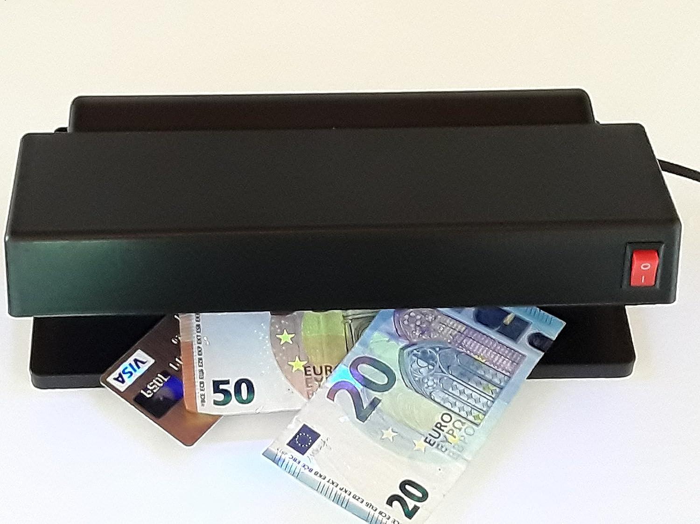 Verificatore banconote con 2 potenti lampade UV per controllo anti-contraffazione banconote, carte di credito e passaporti falsi warensicherung.de GS10
