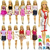 ZITA ELEMENT 10 items =5 Fashion Summer Short Wear Clothes Outfit +5 Shoes for Barbie Dolls Clothes Costume-Random Style