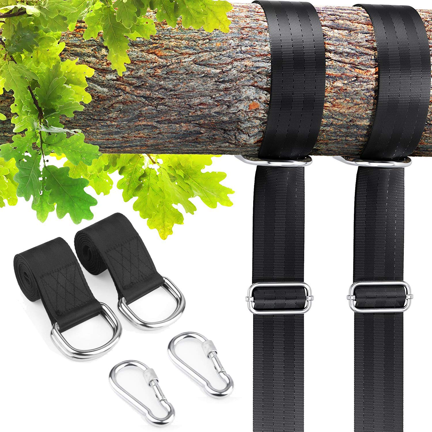 MONEIL Tree Swing Hanging Straps Kit Holds 2200 lbs,Two 5ft Adjustable Straps with Safer Heavy Duty Carabiner and Swivel Hook,Perfect for Hammocks & Most Swing Seats - Baby, Toddler, Kids Safety