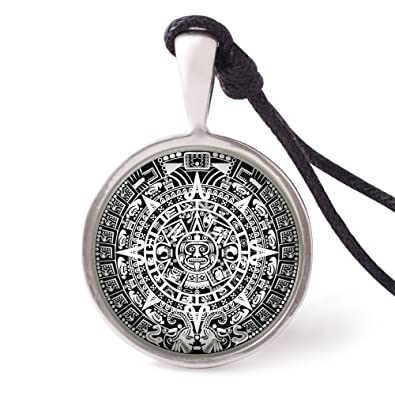 Vietsbays mayan calendar necklace pendants pewter silver amazon vietsbays mayan calendar necklace pendants pewter silver aloadofball Images